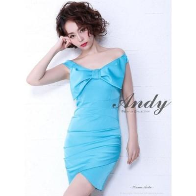 ドレス キャバ キャバドレス ワンピース Andy ワンカラー リボン オフショル タイト ミニドレス S M 赤 青 白 黒 シンプル レディ