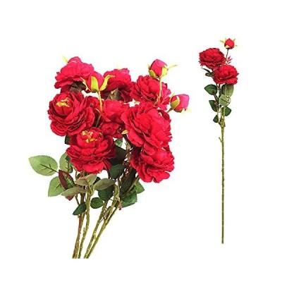 造花 バラ 薔薇 ウエスタンローズ インテリア アートフラワー 花束 プレゼント お祝い (レッド 5本)