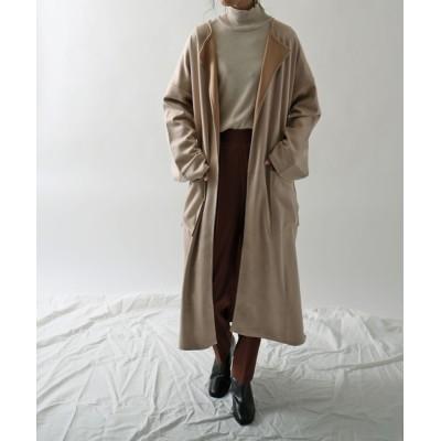 Fashion Letter / カットスエードロングガウンコート WOMEN ジャケット/アウター > チェスターコート
