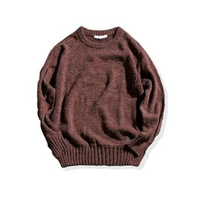 [スプリングスワロー] 肘あて付き クルーネック ニット 暖か ゆったり メンズ セーター uネック ボートネック トップス 春秋 通学 仕事 エルボ