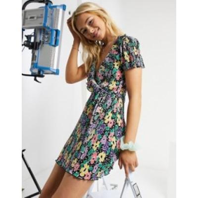 エイソス レディース ワンピース トップス ASOS DESIGN plisse mini wrap dress with frill in bright floral Bright floral