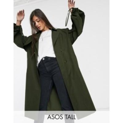 エイソス レディース コート アウター ASOS DESIGN Tall extreme sleeve trench coat in khaki Khaki