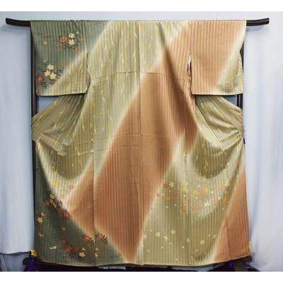 KD-14 正絹 小紋 変わり織り 花柄 蝶 笹模様