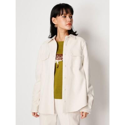 リリーブラウン Lily Brown ウールライクコットンシャツ (オフホワイト)