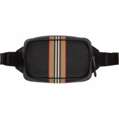 バーバリー Burberry メンズ ボディバッグ・ウエストポーチ バッグ Black Icon Stripe Print Bum Bag Black