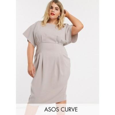エイソス ASOS Curve レディース ワンピース ペンシル ミドル丈 ワンピース・ドレス ASOS DESIGN Curve nipped in waist midi pencil dress in grey グレー