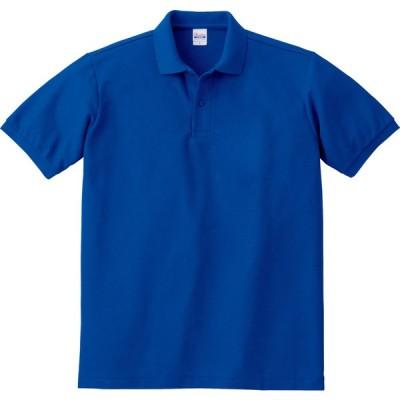 T/Cポロシャツ ポケット無し ホワイトS 00141B ロイヤルブルー
