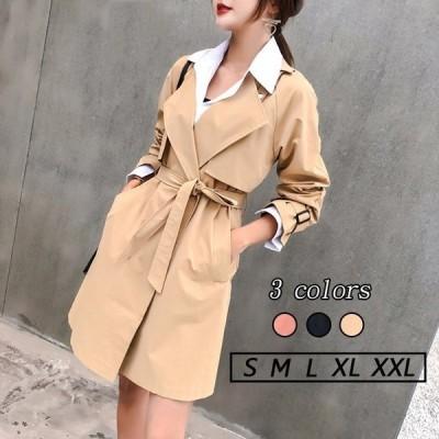 トレンチコート 大きいサイズ 秋服 レディース アウター ロングコート  ジャケット 上着 長袖 テーラードゴート 通勤 オフィス 韓国風コート 着やせ