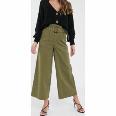 エイソス ASOS DESIGN レディース ボトムス・パンツ belted trouser with paperbag waist in green washed cotton グリーン