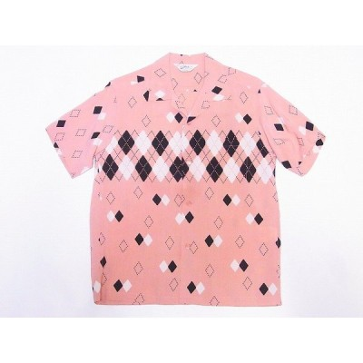 STAR OF HOLLYWOOD[スターオブハリウッド] オープンシャツ SH38384 ARGYLE アーガイル 半袖 オープンカラーシャツ (ピンク)
