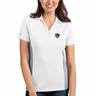 Antigua アンティグア スポーツ用品  Antigua Brooklyn Nets Womens White/Gray Venture Polo