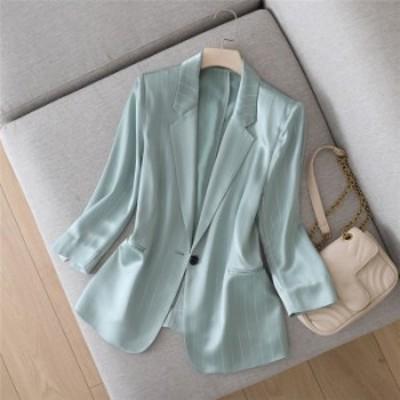 トップス 長袖 スーツアウター スーツジャケット スーツコート ストライプ 春秋 薄手 ロング丈 ロング ロングジャケット 大きいサイズ カ