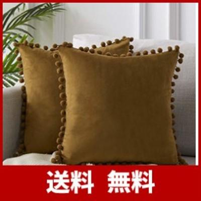 Topfinel クッションカバー 65×65CM 北欧 可愛い ベルベット 玉付き ソファ背当て 装飾枕カバー 座布団カバー ブラウンー#8 2枚セッ