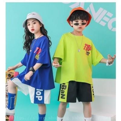 ダンス衣装ヒップホップキッズパンツセットアップTシャツ半袖ショートパンツダンス衣装HIPHOP演出ジャズダンス衣装韓国男女兼用