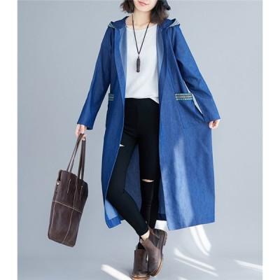 トレンチコート 長袖 体型カバー ロング丈 着痩せ カジュアル 可愛い 秋 春 アウター レディース
