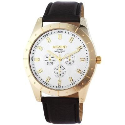 ジュエリー 腕時計 アクゼント AKZENT メンズ 腕時計 ARTIFICIAL レザー 腕時計 クロノグラフ LOOK SS75-008
