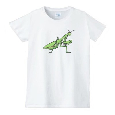 カマキリ 動物生き物 Tシャツ 白 レディース 女性用 jd120