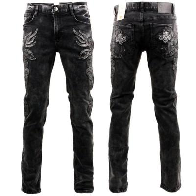 クラウド72(CLOUD72) メンズジーンズ #720b デニム ブラックデニム ストレッチデニム クロス 刺繍 ワッペン 高級感 safari UOMO 3006mb004-BK