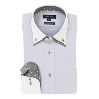 形態安定レギュラーフィット2枚衿ドゥエボットーニクレリック長袖ビジネスドレスシャツ