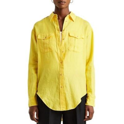 ラルフローレン レディース シャツ トップス Linen Long Sleeve Shoulder-Epaulettes Button Down Shirt Lemon Rind