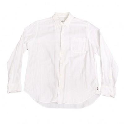 パパスプラスPapas+ コットンガーゼボタンダウンシャツ 白M 【メンズ】