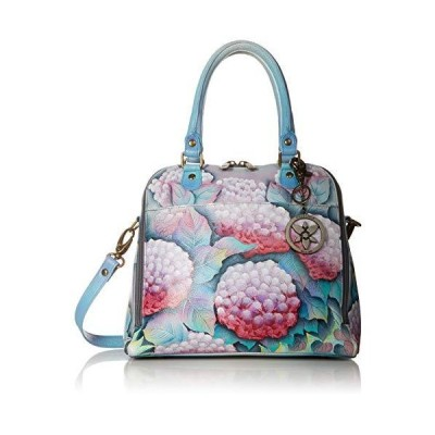 Anuschka Women's Genuine Leather Zip Around Convertible Satchel - Hand Painted Exterior - Hypnotic Hydrangeas 並行輸入品