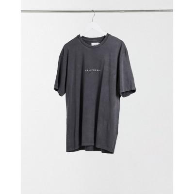 トップマン Topman メンズ Tシャツ トップス T-Shirt With Cali Print ブラック