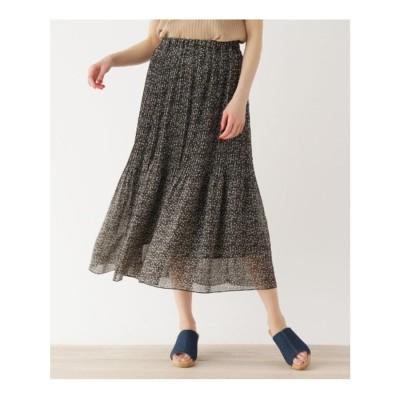シューラルー SHOO-LA-RUE 【M-LL】小花柄アコーディオンプリーツロングスカート (ネイビー)