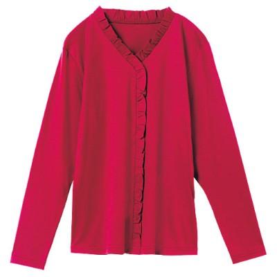 前身フリルTシャツ(綿100%)/レッド/M