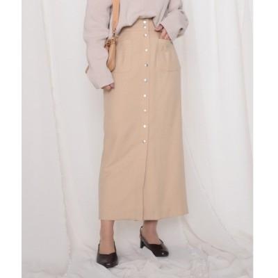 スカート ドット釦ポケット付きタイトスカート