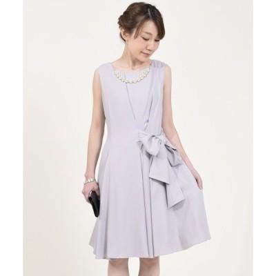 ドレス ネックレス付きアシメリボン