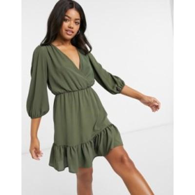 エイソス レディース ワンピース トップス ASOS DESIGN wrap front ruffle hem mini tea dress with puff sleeves in khaki Khaki