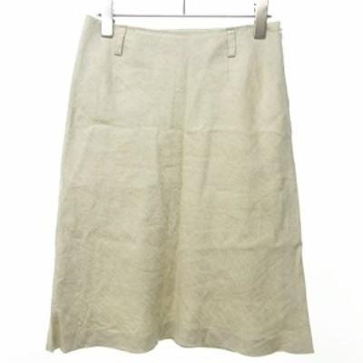 【中古】マーガレットハウエル MARGARET HOWELL 美品 リネン 麻 台形スカート 膝丈 無地 白 2 0529 レディース