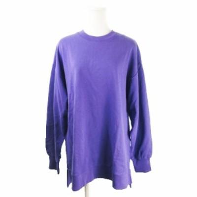 【中古】未使用品 ビス ViS color トレーナー スウェット クルーネック 長袖 薄手 オーバーサイズ F 紫 パープル
