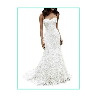 Eldecey Women's Lace Beach Wedding Dress Long Boho Floor Length Bridal Gown Style 2 US2 White並行輸入品