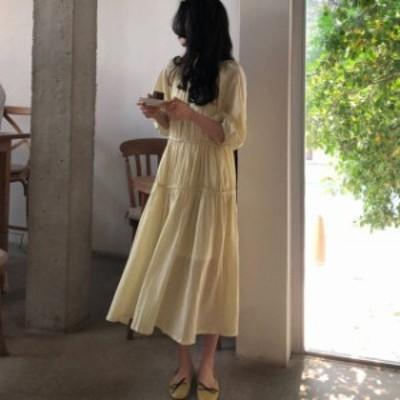 オルチャン 韓国 ファッション レディース ワンピース ティアード ロング リボン フレア ゆったり 体型カバー 七分袖 大人可愛い