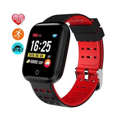 スマートウォッチ スポーツ腕時計 IP67完全防水 NATUCE 多機能 スマートブレスレット 1.3インチ大画面 血圧計 心拍計 レッド