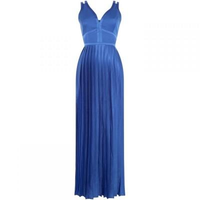 リトル ミストレス Little Mistress レディース ワンピース Vネック マキシ丈 ワンピース・ドレス V Neck Fitted Waist Maxi Dress Blue