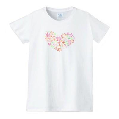 ハート 虹 星 Tシャツ 白 レディース 女性用 jhn37