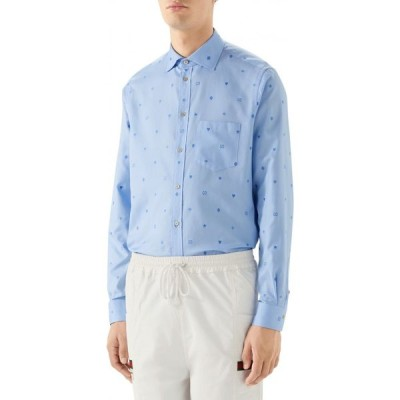グッチ GUCCI メンズ シャツ トップス Symbols Fil Coupe Cotton Button-Up Shirt Blue