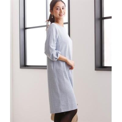 上品華やかラメブークレカットソー素材8分袖ワンピース (ワンピース)Dress