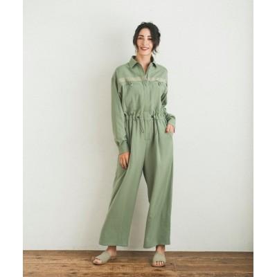 JACK & MARIE / Marie Miller DRY TWILL JUMPSUIT (マリーミラー ドライツイルジャンプスーツ)(2colors)(ベージュ グリーン) WOMEN オールインワン・サロペット > つなぎ/オールインワン