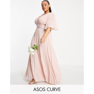 エイソス ドレス 大きいサイズ レディース ASOS DESIGN Curve Bridesmaid pleated flutter sleeve maxi dress with satin wrap waist エイソス ASOS