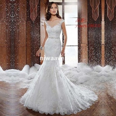 ウエディングドレス レース マーメイドドレス Vネック 披露宴 撮影 ロングドレス 背開き 白 結婚式 トレーン 花嫁 ホワイトドレス ブライダルドレス