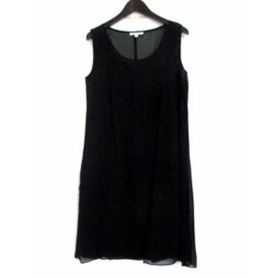 【中古】バーニーズニューヨーク ワンピース 1 黒 ブラック シルク混 インナー付き ノースリーブ ドレス 無地 シンプル 美品 レディース