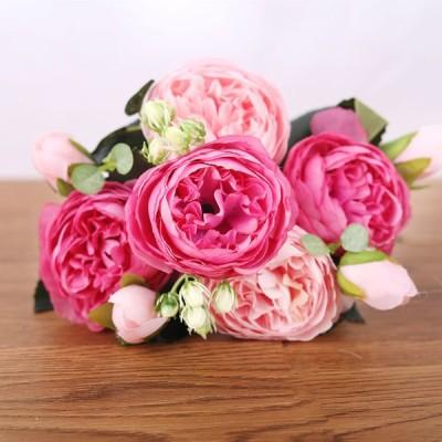 フェイクペルシャローズ5花シルクブーケパーティーデコレーション装飾デュアルカラー