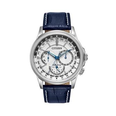 シチズン/CITIZEN/Calendrier/腕時計/メンズ/BU2020-02A/エコドライブ/クロノグラフ/ワールドタイム/ホワイト×ブルー
