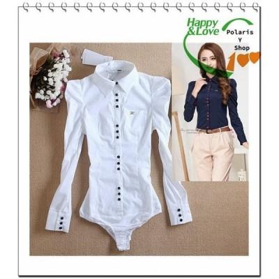 ボディシャツシャツワイシャツレディースオフィスブラウス白シャツ半袖夏便利パンツ型シャツ大きいサイズ