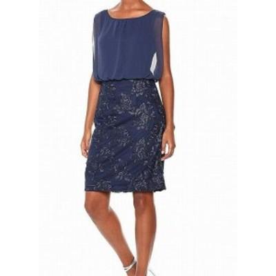 Calvin Klein カルバンクライン ファッション ドレス Calvin Klein Womens Blue Size 8 Floral Embroidered Sheath Dress