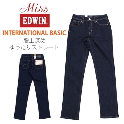 Miss EDWIN ミスエドウィン INTERNATIONAL BASIC 股上深めゆったりストレート ME424-1 濃色 レディース